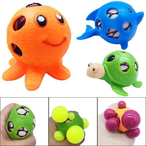 Omiky® Anti-Stress Ball Spielzeug Quetschball Mesh Netz Squeezeball Kinder Control Spiel Traubenball Streß Hilfe - Meerestier (Zufällig)