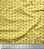 Soimoi Gelb Samt Stoff Blätter Hemdenstoff Stoff drucken