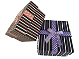 5 x Black with stripes & bow with polka dots quality jewellery watch bracelet ring necklace gift boxes luxury padded insert 8.5cm x 8cm x 5cm by Fat-catz-copy-catz