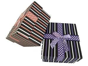 5 x Noir avec rayures & noeud avec à pois points qualité bijouterie montre bracelet bague collier écrin cadeau de luxe matelassé insert 8.5cm x 8cm x 5cm by Fat-catz-copy-catz