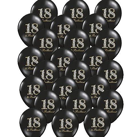 24x Luftballon 18. Geburtstag schwarz Brilliant Partydekoration - Kleenes Traumhandel®