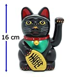 Winkekatze Glückskatze Katze Maneki Neko Black Cat Glücksbringer Starlet24 256 Black (16cm)