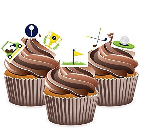 Kuchen-Dekorationen / Cupcake-Aufsetzer, essbar, mit Golf-Design, 24 Stück