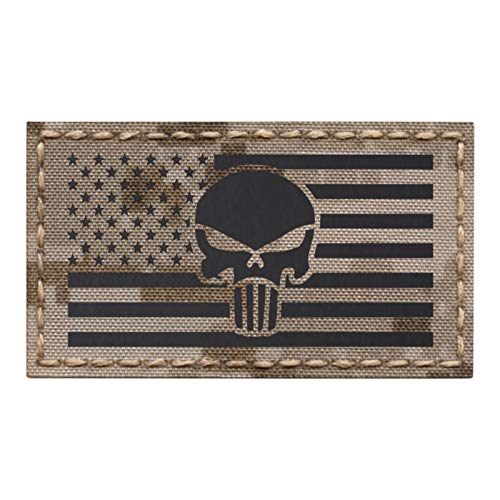 Digital Desert AOR1 IR Punisher Skull USA American Flag Infrared 2x3.5 IFF Tactical Morale Touch Fastener Patch -
