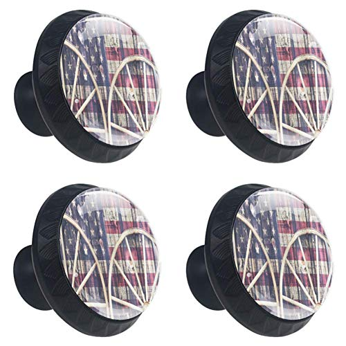 4 Pieces Set Cabinets Hardware Round Furniture Knobs Retro Vintage Big Antique Cart Carriage Wheels With American Flag Print,Drawer Dresser Cupboard Wardrobe Pulls Handles for Home Kitchen -