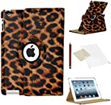 Stuff4 Leopard Designed Leather Smart Case with 360 Degree Rotating Swivel Action and Free Screen Protector/Stylus Touch Pen for Apple iPad Mini/Mini Retina