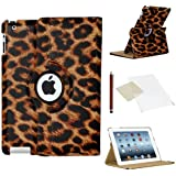 Stuff4 Leopard Designed Leather Smart Case with 360 Degree Rotating Swivel Action and Free Screen Protector/Stylus Touch Pen for Apple iPad 2/3/4