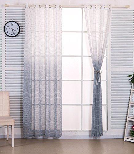 WOLTU® VH5853bl1 , Gardinen transparent mit Ösen in Leinen Optik mit gestreift Farbverlauf Muster , Vorhang Stores Voile Wohnzimmer Kinderzimmer Schlafzimmer , 140x225 cm , Weiß + Blau , (1 - Wohnzimmer Für Vorhänge Blau