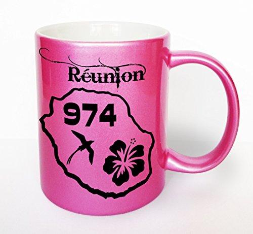 Kdomania - Mug Rose pailleté Réunion 974