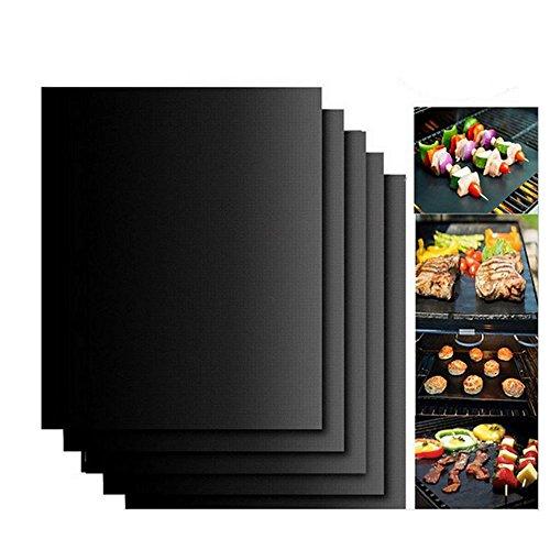 wowfeu alfombra de cocción de alta definición para barbacoa y horno,–Juego de 5pcs hojas alfombra placa de cocción de alta calidad especial antiadherente y reutilizable para barbacoa BBQ 40cmx33cm