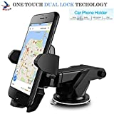 #9: MOZIX Car Mobile Holder/Stand Adjustable with Windshield/Dashboard/Working Desk Mount with Quick One Touch Technology for Mobile Phones (Black, MXCST0130)