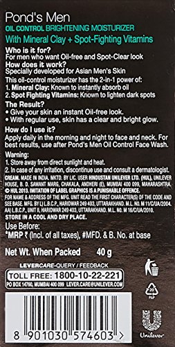 Ponds Men Oil Control Brightning Moisturizer, Clear and Energized, 40g