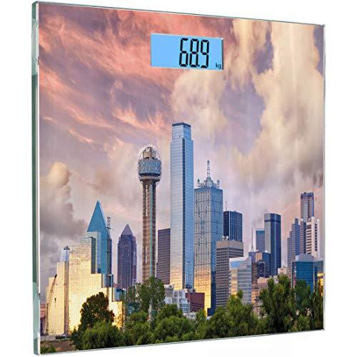 Ultra Slim Hochpräzise Sensoren Digitale Körperwaage USA Gehärtetes Glas Personenwaage, Dallas Skyline bei Sonnenuntergang Wolken Texas Highrise Wolkenkratzer Wahrzeichen, Teal Lime und