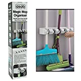 ASAB Brush, Broom and Mop Holder + Tool Hanger | 5 Position and 6 Hooks | Wall Mounted Rack | Cupboard Tidy Storage Organiser for Rake, Duster, Sweeper, metal, White, 440mm Long, 70mm Tall, 95mm Depth