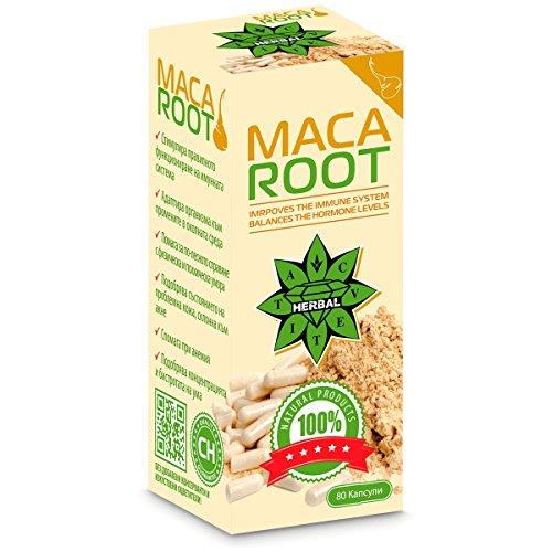 Racine de Maca | Maca root powder capsules | Cvetita Herbal UK | 80 gélules poudre | 1000 mg (dose quotidienne) | Augmenter les niveaux d'énergie et augmenter la vitalité | Balances Hormones, Changements d'humeur | Améliore l'endurance, réduit le stress et l'anxiété | Convient pour les hommes et les femmes | Equilibre les hormones chez les deux sexes | Améliore la libido | La super puissance féminine