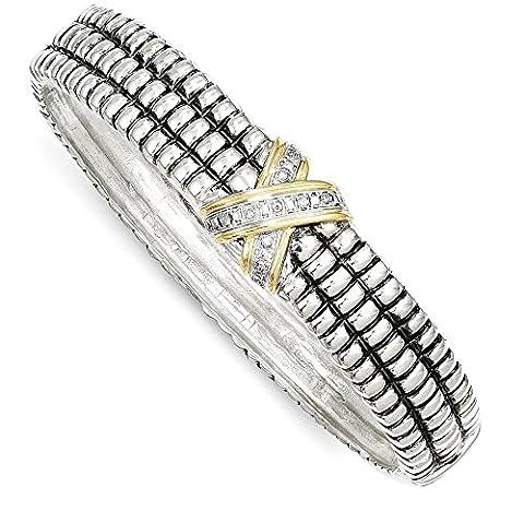 925 Sterling Silver 14k 1 15ct. Diamond Bangle