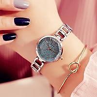 YT Reloj de Cuarzo Estrellado Impermeable Moda Mujer,Azul Plateado