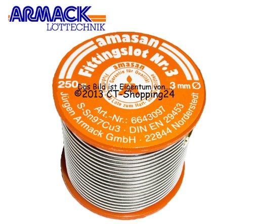 Preisvergleich Produktbild Amasan Fittingslot Nr.3 (97% Zinn, 3% Kupfer) 250g Rolle Ø=3,0mm (bleifrei)