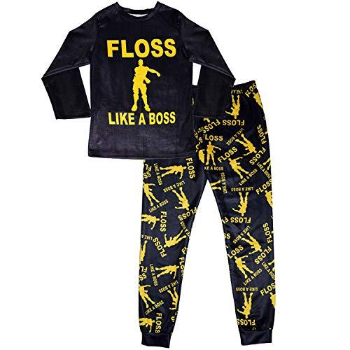 8314a0d026c12 Vita Floss comme Un Pyjama Patron Garçons Ensemble Noir Or Coton De Nuit  Vêtement De Nuit À Manches Longues pour Enfants Gaming Dance 7-14 Ans