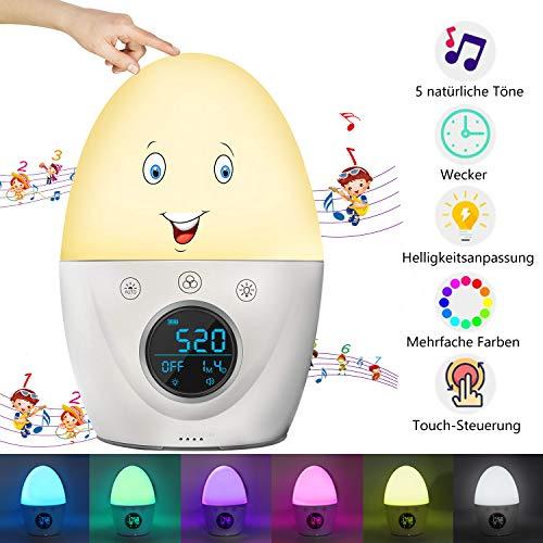 Lichtwecker,Wake Up Licht,Digitaler Wecker für Kinder und Erwachsene,RegeMoudal Nachtlicht Wecker 7 Farben Licht,5 Musik,Nachttischlampe 4 Helligkeit,Snooze Funktion