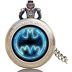 "BATMAN Fluorescent Blue Logo Antique Bronze Effect Retro/Vintage Case Men's Quartz Pocket Watch Necklace - On 32"" Inch / 80cm Chain"