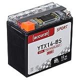 Accurat Motorradbatterie YTX14-BS 12Ah 200A 12V Gel Technologie + LCD Display...