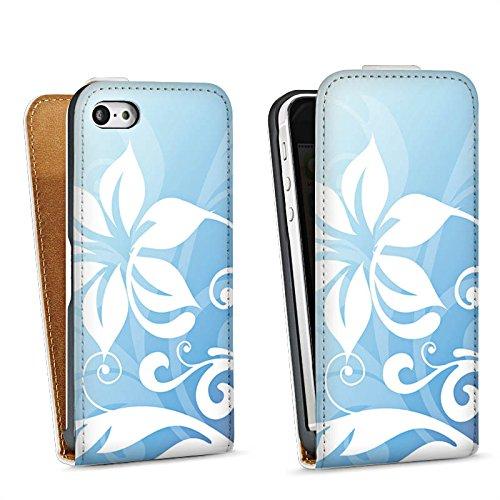 Apple iPhone 5s Housse Étui Protection Coque Fleur Fleur Ornement Sac Downflip blanc
