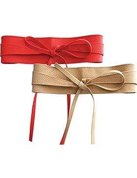 NormCorer 2 Paquete Womens PU Cintura Sash Cinturones Obi para el vestido