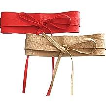 NormCorer 2 Paquete Womens PU Cintura Sash Cinturones Obi para el vestido a28b35dfd12a
