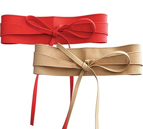 NormCorer 2 Pack Damen PU Taille Schärpe Gürtel Obi für Kleid (Rot - beige) (Schärpe Rote Gürtel)
