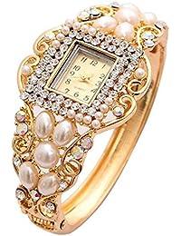 Shining Diva Fashion Luxury 18k Gold Plated Pearl Crystal Quartz Wrist Watch Bracelet for Girls and Women