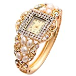 Shining Diva Fashion Luxury 18k Gold Plated Pearl Crystal Quartz Wrist Watch Bracelet for Girls and Women 5