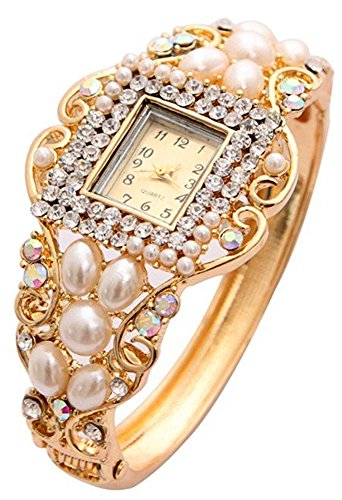 Shining Diva Fashion Luxury 18k Gold Plated Pearl Crystal Quartz Wrist Watch Bracelet for Girls and Women 3