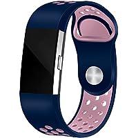 """Für Fitbit Charge 2 Armband, HUMENN Zwei-Farben Weich Silikon Ersatzarmband Smartwatch Sport Band für Fitbit Charge 2 Herzfrequenz Fitnessaufzeichnung (5.5""""-8.1"""")"""