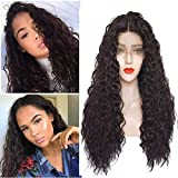 SHANDIREN Outdoor 250% Density Synthetic Lace Front 24 Inch Dark Brown Loose Curly Wave Heat Resistant Fiber Wigs With Baby Hairs For Women …