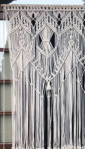 cortina de macramé de cuerda de algodón para bodas, ventanas y puertas