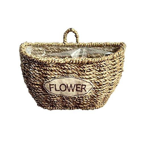 Bitcircuit Algen gewebt Rattan Korb, Wandbehang Vase Blumentopf, hängenden Korb Blumenkorb , große Lagerung Wäschekorb Pflanzer, Dekor Indoor Bewässerung Regal Korb -