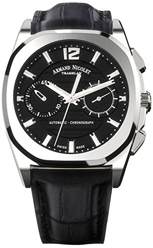 Armand Nicolet Unisex Automatic Watch with Black Dial Chronograph Display and Black Leather Strap A654AAA-NR-PI4650NA
