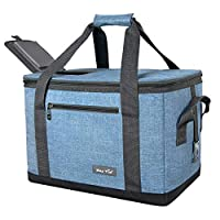 Hap Tim Soft Cooler Bag 40-Can Large Reusable Grocery Bags Soft Sided Collapsible Travel Cooler for Outdoor Travel Hiking Beach Picnic BBQ Party (AE13634-BLUE)
