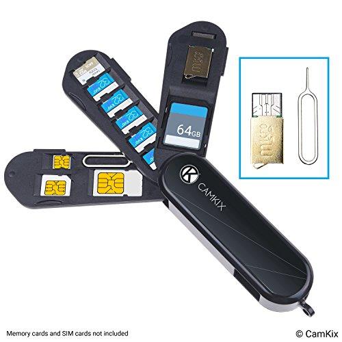 Aufbewahrungsgehäuse für Speicherkarten und SIM-Karten - Micro SD Kartenleser (USB) und Stift zum Auswerfen - Taschenmesser Design - Für 1x SD, 6x Micro SD, 1x Mini SIM, 1x Micro SIM und 1x Nano SIM (Iphone Sim-karte Auswerfen)