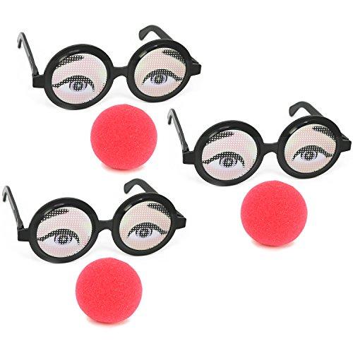 COM-FOUR® 3x Clown Brille, Lustige Brille mit roter Nase (03 Stück - Gläser mit Nase)