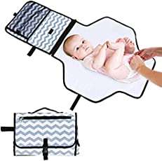 LQZ Foldable Portable Nappy Changing Mat, Waterproof Travel Diaper Changing Pad with Large Capacity for Diapers, Keys, Wallets