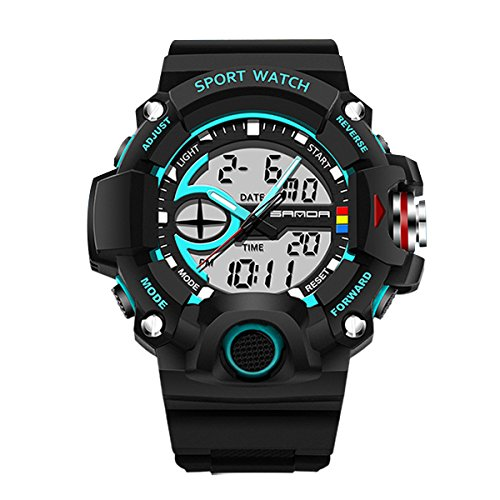 Wasserdicht Sport Armbanduhr Outdoor Bergsteigen oder Wandern Uhren LED Digital Uhr für Boy Herren blau