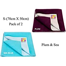Bey Bee Waterproof Bed Protector Dry Sheet Gifts Pack, Small, Plum/Sea Blue (Pack of 2)
