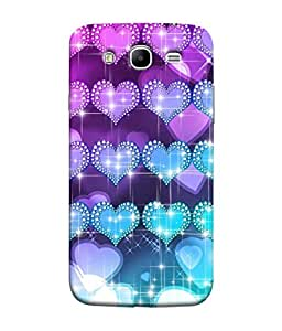 PrintVisa Designer Back Case Cover for Samsung Galaxy Mega 5.8 I9150 :: Samsung Galaxy Mega Duos 5.8 I9152 (Glittering Hearts In Blue And Purple)
