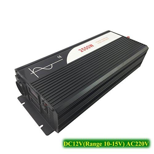 XIJIA 2500 W (máximo 5000 W) Onda sinusoidal Pura inversor de Corriente DC 12 V 24 V 48 V a AC 220~230 V 50 Hz Solar conversor para Uso en casa Coche(DC12V to AC220V)