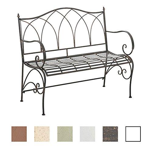 CLP Gartenbank ORKUN im Landhausstil, Eisen lackiert, 107 x 50 cm, 2er Sitzbank Bronze
