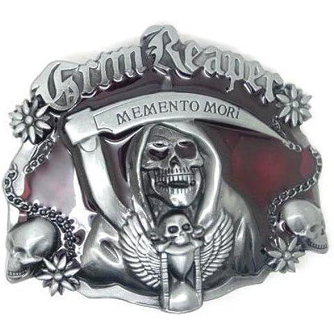 Grim Reaper Memento Mori teschio fibbia della
