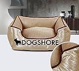 Cuccia per cane da interno Lusso Morbida Dogshore Gold Luxury Alta Qualità Eco Pelle (64x56x20)