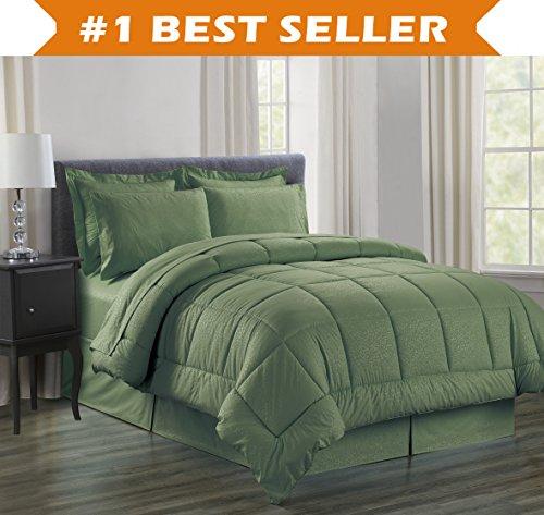 Luxus bed-in-a-bag Tröster Set auf Amazon. eleganten Komfort knitterfrei–seidig weich Schönes Design Komplett bed-in-a-bag 8-teilig Tröster Set–hypoallergenic- King Salbei